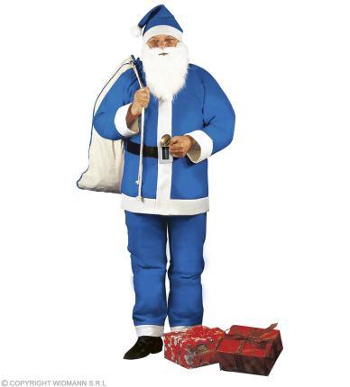 Blauer Weihnachtsmann - Kasack, Hose, Gürtel, Hut, Bart mit Schnurrbart G. M/L