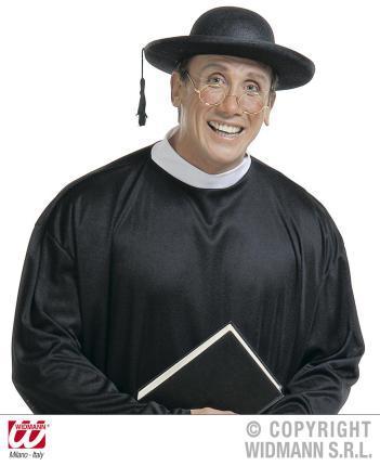 Priester Hut - Pastor Kopfbedeckung - Pfarrer schwarzer Hut Kirche