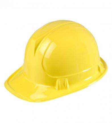 Bauarbeiter Helm - Bauhelm - Faschingshelm Kunststoff gelb