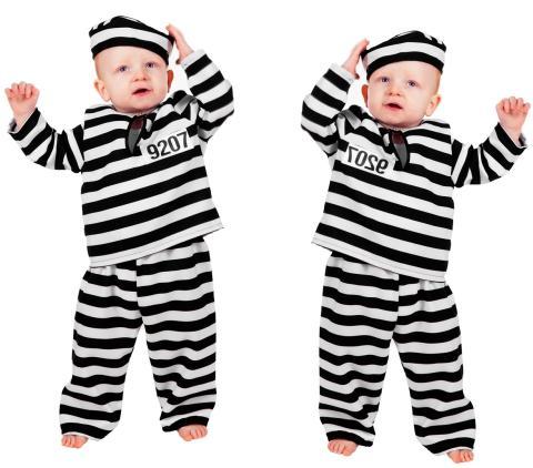 Wilbers Kinderkostüm Baby Sträfling Gr. 86- 92 cm -Babykostüm Gefangener 86 cm