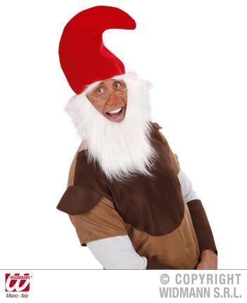 Rote Zwergenmütze mit Bart für Kinder