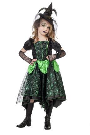 Grüne Hexe - Hexenkostüm Mädchen104 - 164 cm- Halloween  Glamour Wilbers 128 cm