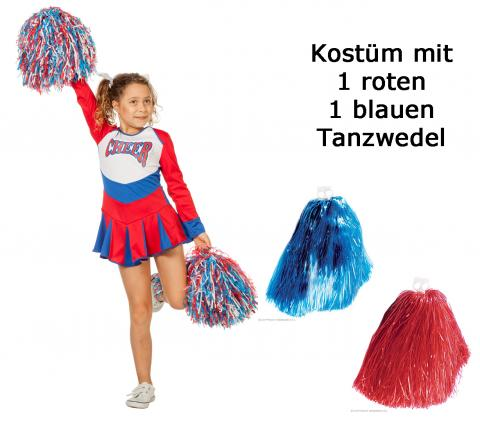 Wilbers Cheerleader Kleid Cheer Leader Größe 140 cm mit Tanzwedel Set