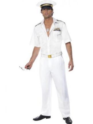 Top Gun Kapitän Kostüm Gr. M - weiß - Herren Verkleidung