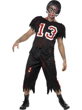 Zombie American Footballer Kostüm Gr. M - Halloween Sport Verkleidung
