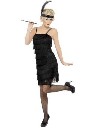 Schwarzes Flapper Kostüm - 20er Jahre Gr L