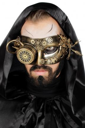 Retro Steampunk Halb - Maske in gold