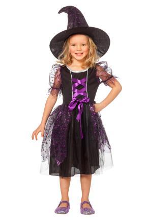 Lila Hexe - Hexenkostüm mit Hut - Halloween 116 cm  violett von Wilbers