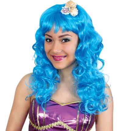 Perücke Meerjungfrau blau mit Muscheln