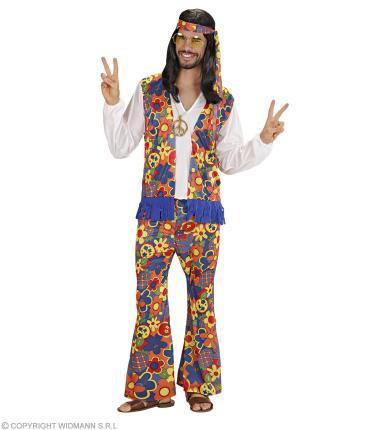 Hippy Kostüm für Männer 70er Jahre - Flower power 70ties