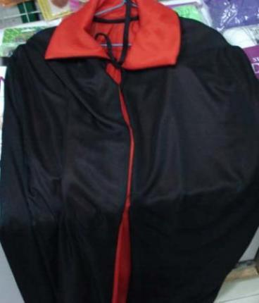 Umhang - schwarz / rot 140 cm