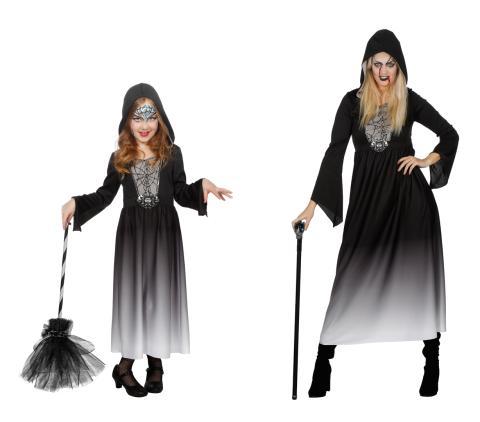Halloween Kleid mit Kapuze von Wilbers -  Verkleidung Fasching Mädchen Kinderkostüm