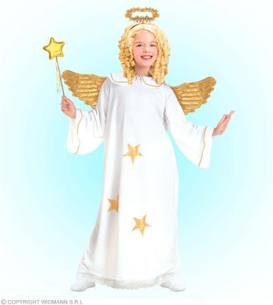 Star Engel Kostüm mit Heiligenschein - Engelkostüm Mädchen M - 140 cm