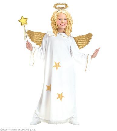 Star Engel Kostüm mit Heiligenschein L 158 cm  - Kinderengel Engelkostüm 158  cm