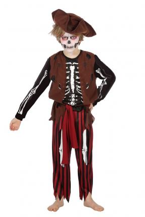 Pirat Halloween Jungen Kostüm Skelettkostüm Skelett Gr. 140 cm