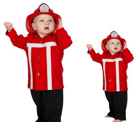 Wilbers Feuerwehrmann Kostüm rot  Gr. 86 cm - Babykostüm