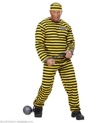 Kostüm Gefangener gelb schwarz Häftling Knast