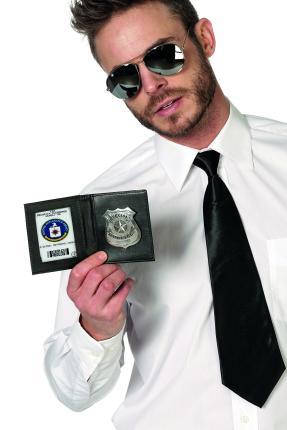 Polizeimarke  im Etui - schwarz - Polizist FBI