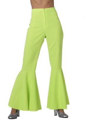 70er 80er Jahre Schlaghose Dame Gr. 38 neon-grün