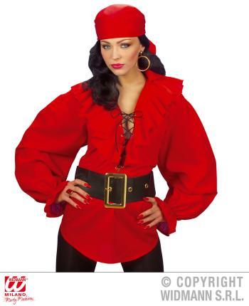 Rote Piraten-Bluse - Renaissance Bluse Gr. M