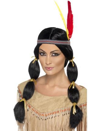 Perücke Indianerin mit schwarzen Zöpfen