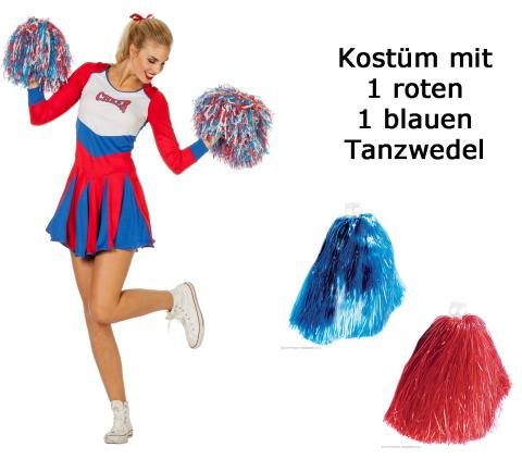 Wilbers sexy Damen Cheerleader Kleid Uniform Gr. 48 mit Tanzwedel Set
