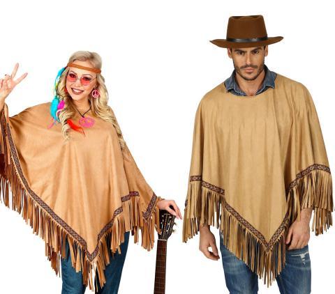 Poncho in Wildlederoptik in braun - Mann + Frau - Gaucho Indianerin