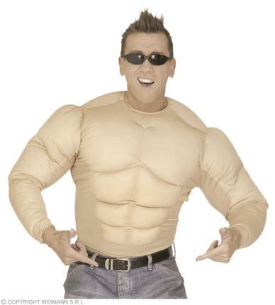 Super Muskelshirt - Muskelhemd Gr. S  - Bodybuilder Hemd Kraft Kostüm
