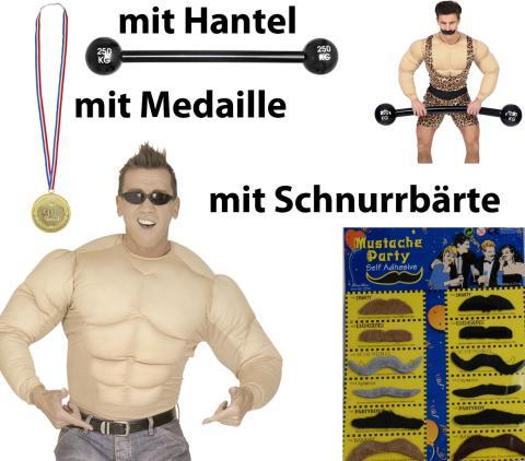 Super Set Muskelshirt - Muskelhemd Gr. 140 cm - XL Kostümset