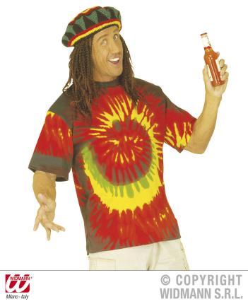 T-Shirt Rastafari XL  Hippiekostüm Batik Shirt Rasta Hippie Kostüm Hemd XL