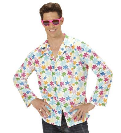 Hippie Flower Shirt - Hippie Blumenhemd XL  - weißer Grundton
