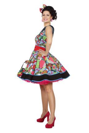 Damen Kleid Kostüm Pop Art - 38 - 48 - 50er Jahre Fasching Damenkleid Gr. 38 - M