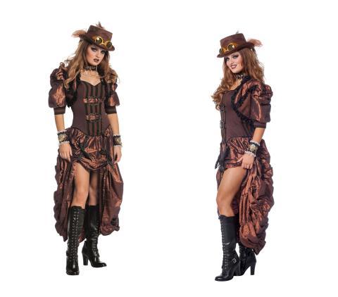 Deluxe Retro Steampunk Kostüm Dame 36-46 - Steampunkkleid