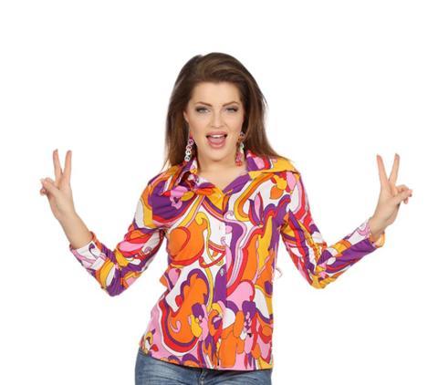 Wilbers Damen Bluse der 70er Jahre Schlager Hippie Gr. 44 - L Orchideen