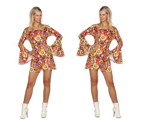 Wilbers 70er Jahre Kleid Trompetenärmel Gr. 40 - M - Minikleid Kreismuster