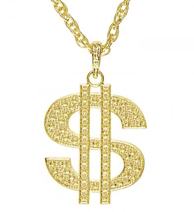 Goldene Dollerkette - Halskette mit Dollarnote - Mafia Goldkette Modeschmuck Gangster