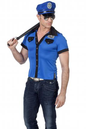 Wilbers shirt  Polizei Strip Stripper Polizist blau Gr. 58