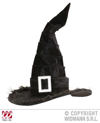Samt Hexenhut in schwarz - Zauberhut Halloween