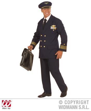 Pilot Kostüm Größe L - Pilotenkostüm Flugkapitän Piloten Uniform L