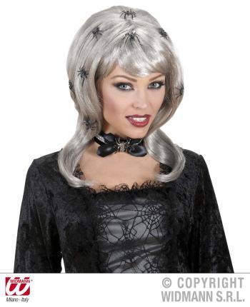 Perücke Spiderlady mit Spinnen - Halloween Damenperückeen Damenperücke