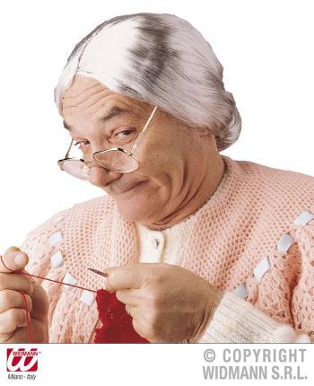 Oma Perücke - Großmutter Perücke mit Dutt