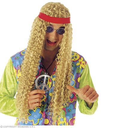 Hippie Perücke gelockt blond  mit Stirnband - 70 Jahre Hippy
