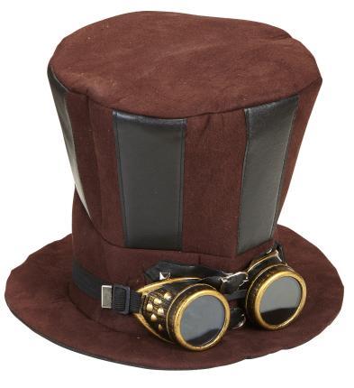 Retro Steampunk Zylinder mit Schweißerbrille - Viktorianischer Hut
