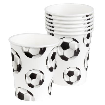 6  Fußball Pappbecher ca. 250 ml, Fußballparty Deko