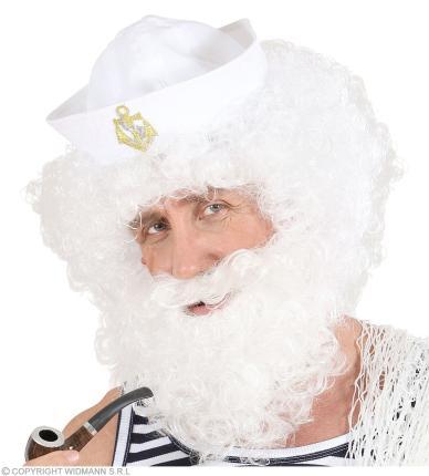 Gelockte Perücke mit Bart - weiß in Beutel - für viele Charaktere