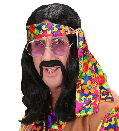 Schwarze Hippie Perücke lang glatt - Herren Flower Power