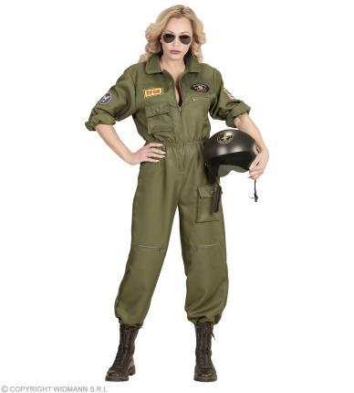 Kampfjet Pilotin Damen Kostüm - Jet Verkleidung Kampffliegerin M - 38/40