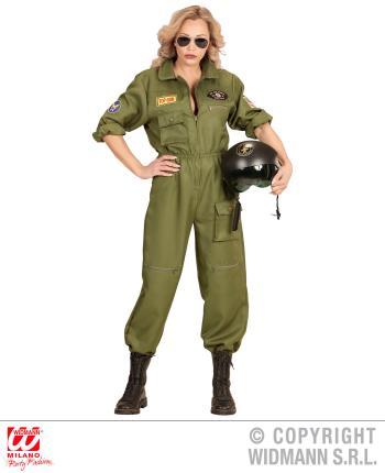 Kampfjet Pilotin Damen Kostüm - Jet Verkleidung Gr. L