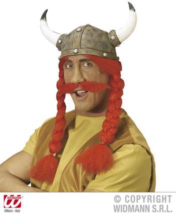 Wikinger Helm mit roten Zöpfen - Dicker Gallier