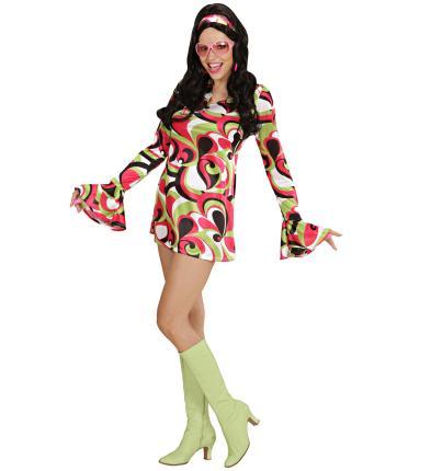 Kostüm 70er Jahre Kleid Hippiekostüm Größe L  grün